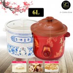 Z PLUS 6L Purple Sand Clay Slow Cooker Pot Ceramic Slow Cooker Pot Porridge Soup Dessert