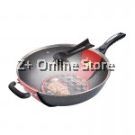 Z PLUS 32cm YGZJ Korean Maifan Stone Non-Stick Cooking Wok Pot with Standable Lid