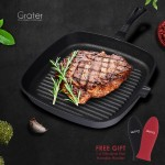 Grater 23cm 9-inch Pre-seasoned Square Cast Iron Grill Pan No Coating Non-Stick Induction Griddle Skillet Oven Safe Bakeware Ribbed Frying Pan Cookware