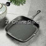 Grater 23cm Pre-seasoned Square Cast Iron Grill Pan Steak BBQ Grill Oven Bake Ribbed Frying Cookware Bakeware