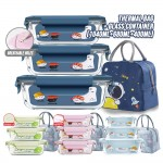 Set of 4 pcs Glass Containers + Thermal Cooler Lunch Bag Airtight Microwave Glassware Glasslock Food Storage Bento Lunch Box