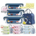 4 in 1 Set of Rectangle Microwave Glass Food Container Leak proof Airtight Food Storage Glassware Lunch Box Tupperware Glasslock + Cooler Thermal Lunch Bag