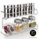 Z PLUS 10pieces Stainless Steel Seasoning Bottle Condiment Glass Spice Rack