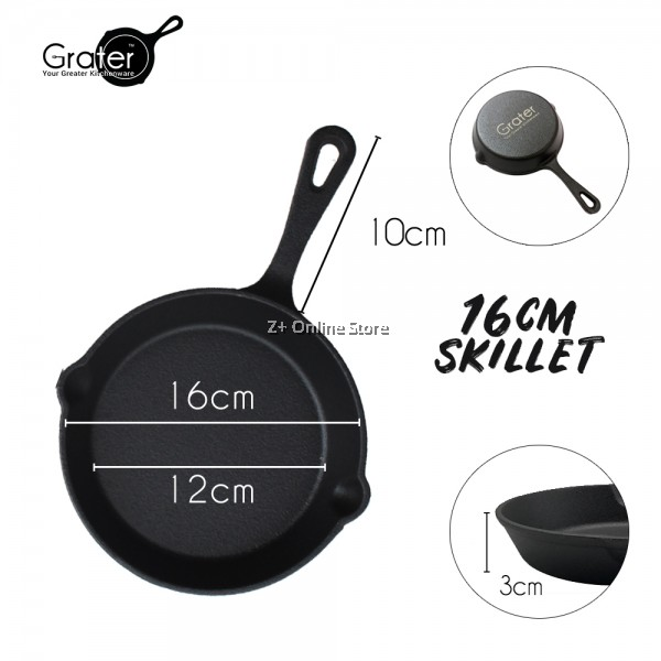 16cm/20cm/26cm Grater Pre-Seasoned Cast Iron Skillet Non Stick Frying Pan Oven Safe Campfire Cooking Induction Cookware Bakeware BBQ Grill