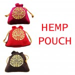 Hemp Pouch with Chinese Wording Stitches Gift