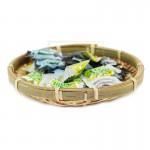 Z PLUS Ancient Chinese Traditional Bamboo Tray Round Gifts Basket