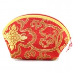 Z PLUS Brocade Coin Chinese Stitching Purse Wallet + Beads (Red Gold)