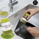 Z PLUS Kitchen Silicone Palm Scrub Soap Dispensing Dishwasher brush with stand