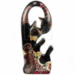 Z PLUS Batik Wood Christmas Gift Xmas Decor Figurine Hand Craft Kiss Fortune Cat
