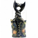 PLUS Batik Wood Christmas Gift Xmas Decor Figurine Craft Kiss Neck Twist Cat