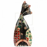 PLUS Batik Wood Christmas Gift Xmas Decor Figurine Craft Love Couple Cat-MMaid