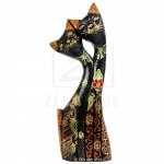 Z PLUS Batik Wood Christmas Gift Xmas Figurine Craft Love Couple Cat Side Head