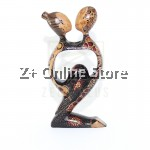 Z PLUS Batik Wood Christmas Gift Xmas Decor Figurine Lover Couple Statue Model 2