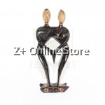 Z PLUS Batik Wood Christmas Gift Xmas Deco Figurine Lover Couple Statue Model 10