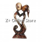 Z PLUS Batik Wood Christmas Gift Xmas Decor Figurine Lover Couple Statue Model 9