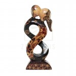 Z PLUS Batik Wood Christmas Gift Xmas Decor Figurine Lover Couple Statue Model 7
