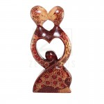 Z PLUS Batik Wood Christmas Gift Xmas Decor Figurine Lover Couple Statue Model 4